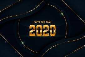 流畅动感的2020金箔字贺岁素材