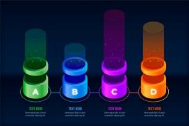 五彩圆柱体发光的步骤素材