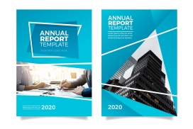 现代蓝色的年度报告模板