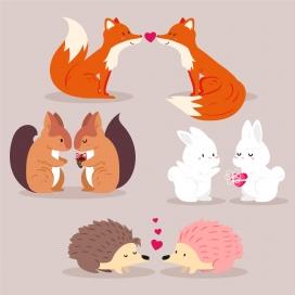 动物情人节卡通素材