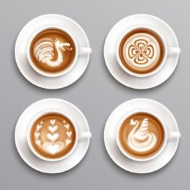 拉花拿铁咖啡素材下载