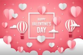时尚的热气球爱心情人节海报素材下载