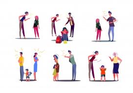 伤害小孩的卡通家庭争吵指责素材
