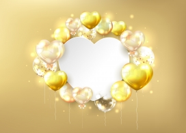 金色气球爱心素材下载