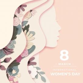 层叠式镂空花卉女性图