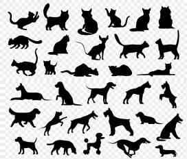 猫狗卡通黑色剪影素材