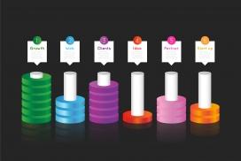 五彩的圆柱体数字标签素材