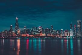 大都市城市江边夜景图