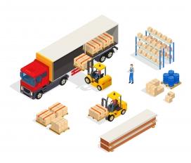 卡车装卸货的物流素材AI