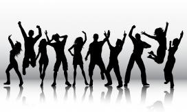 狂欢跳舞人黑白剪影素材