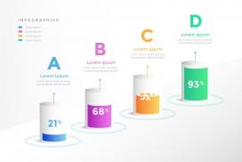 圆柱体字母步骤型百分比素材