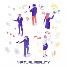 戴VR眼镜体验的卡通人