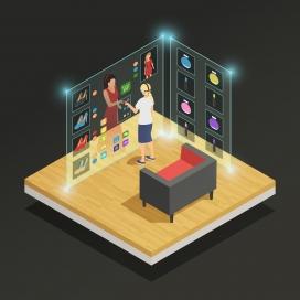 体验虚拟穿衣屏幕的VR科技女子
