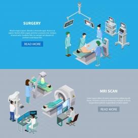 医院体检做手术卡通素材图