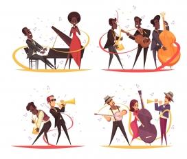 概念爵士音乐卡通人物=与乐器音符剪影素材