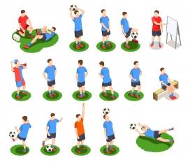 卡通足球运动员训练素材图