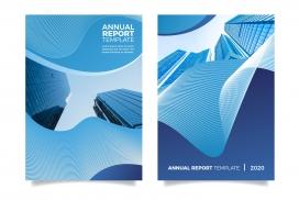 蓝色房地产建筑物年度报告宣传册素材