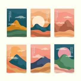 日式风水墨卡片素材下载
