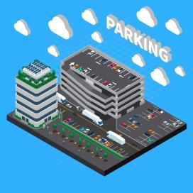 立体多层的停车场素材图
