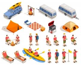 皮划艇露营野外郊游卡通素材