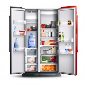 开放式红黑冰箱