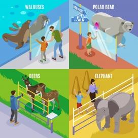 动物园动物卡通概念设计