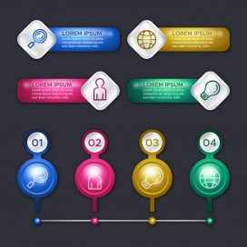 3d光泽信息图表概念模板