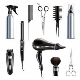 理发店美发师工具集合