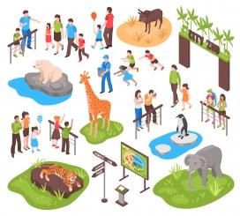 卡通类动物园简笔画插画