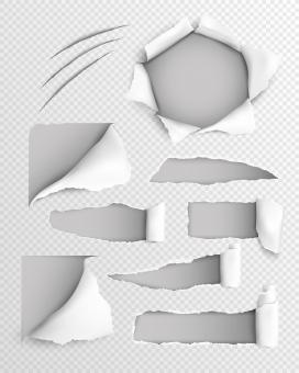 白色撕纸素材