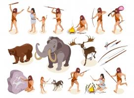 野人部落狩猎训猎卡通素材