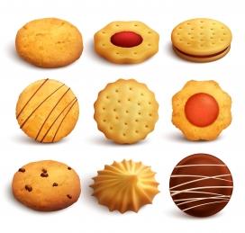 小麦面粉烤制的饼干素材