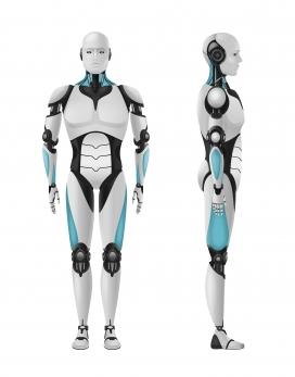 带有正面侧视图的逼真3D机器人