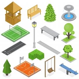 城市公园硬件设备设施元素素材