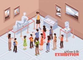 雕塑博物馆的游客