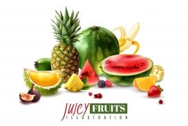 新鲜多汁的夏季水果素材图片