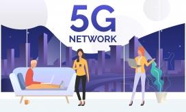 体验5G网络科技的卡通女郎素材