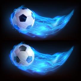 蓝色火焰飞跃的足球