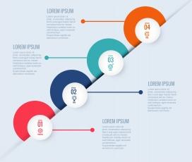 五彩阶梯式圆形数字步骤素材标签