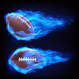 蓝色火焰包裹飞行的橄榄球