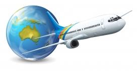 起飞的航空飞机与地球