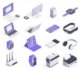 计算机周边各种消费者电子插图素材