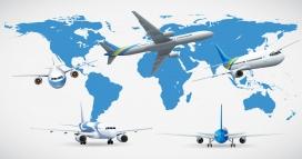 从世界地图起飞的飞机