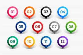 彩色的圆形图钉式箭头标签装饰素材