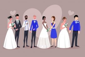 婚礼情侣婚主题卡通素材