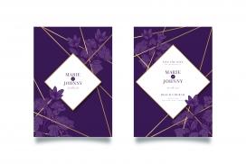 带金线的紫色婚礼邀请函素材