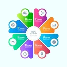 五彩旋转圆形渐变样式信息图表模板