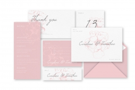 粉红色的婚礼邮件邀请函素材