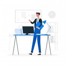 电脑工作台上的经理人卡通素材