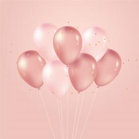 浪漫气息的粉红色氢气球素材图片